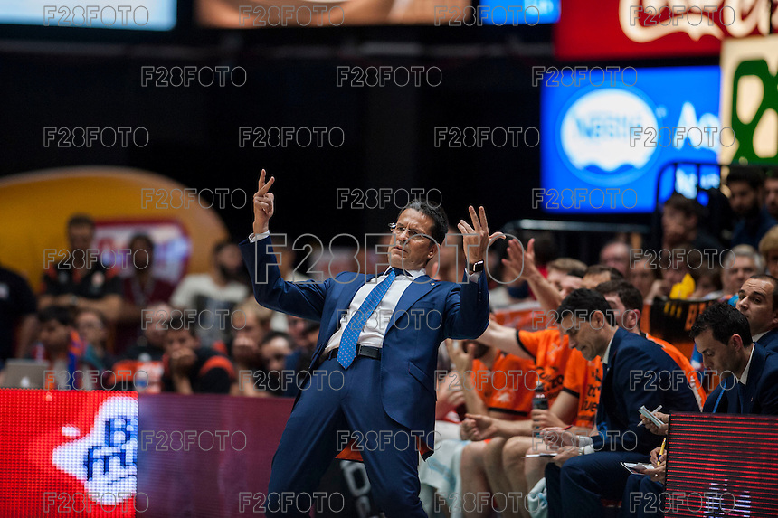 VALENCIA, SPAIN - MARCH 27: Pedro Martinez during ENDESA LEAGUE Play Off match between Valencia Basket Club and Unicaja at Fonteta Stadium on March, 2016 in Valencia, Spain