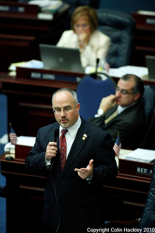 TALLAHASSEE, FLA. 4/30/10-HUDSON 43010 CH02-Rep. Matt Hudson, R-Naples, left, sponsor of CS/HB 1143 requiring that women seeking an abortion have an ultrasound prior to the procedure urges passage of his bill Friday at the Capitol in Tallahassee...COLIN HACKLEY PHOTO