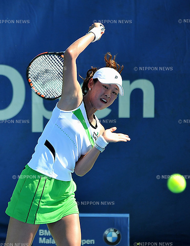 February 26, 2013, Kuala Lumpur, Malaysia - Junri Namigata of Japan (WTA 221) during singles qualifying game at BMW Malaysian Open 2013 against Qiang Wang of China (WTA 187). Namigata lost by score 3-6, 1-6 and failed to main draw. (Photo by Robertus Pudyanto/Aflo)