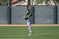 Oakland Athletics center fielder Mickey McDonald (30) during a Minor League Spring Training game against the San Francisco Giants at Lew Wolff Training Complex on March 26, 2018 in Mesa, Arizona. (Zachary Lucy/Four Seam Images)
