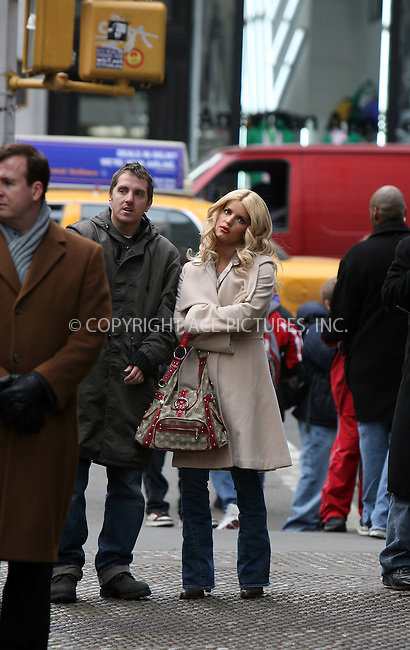 WWW.ACEPIXS.COM...........March 1 2007, New York City....Actress Jessica Simpson on the set of her latest movie 'Blond Ambition' directed by Scott Marshall. In this romatic comedy Simpson playes a young professional woman who unwittingly becomes involved in a plot to oust the head of a major international company.....Please byline: PHILIP VAUGHAN/ACEPIXS.COM....For information please contact Philip Vaughan:..tel: 646 769 0430..e-mail: info@acepixs.com..website: www.acepixs.com