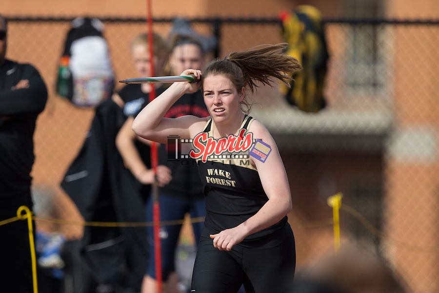 Jessie Merkle of the Wake Forest Demon Deacons competes in the women's javelin at the Wake Forest Open on March 21, 2015 in Winston-Salem, North Carolina.  (Brian Westerholt/Sports On Film)