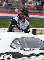 May 11, 2013; Commerce, GA, USA: NHRA crew member for pro stock driver Shane Gray during the Southern Nationals at Atlanta Dragway. Mandatory Credit: Mark J. Rebilas-
