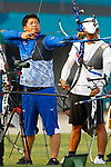 Tomoaki Kuraya (JPN), <br /> AUGUST 21, 2018 - Archery : <br /> Men's Recurve Individual Ranking Round <br /> at Gelora Bung Karno Archery Field <br /> during the 2018 Jakarta Palembang Asian Games <br /> in Jakarta, Indonesia. <br /> (Photo by Naoki Morita/AFLO SPORT)