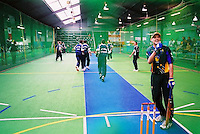 Australian Under 19 batsman Ben O'Brien gives the umpire the thumbs-up in game against South Africa.<br /> 2003 Indoor Cricket World Under 19 Championships, Christchurch, New Zealand