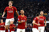 Jordan Veretout of AS Roma (2R) celebrates with team mates Nicolo Zaniolo (L) , Leonardo Spinazzola and Edin Dzeko of AS Roma (R) after scoring the goal of 2-0 for his side <br /> Roma 2-11-2019 Stadio Olimpico <br /> Football Serie A 2019/2020 <br /> AS Roma - SSC Napoli <br /> Foto Andrea Staccioli / Insidefoto