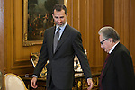King Felipe VI of Spain and San Fernando Fine Arts academy director FERNANDO DE TERAN TROYANO during Royal Audiences at Zarzuela Palace in Madrid, Spain. January 27, 2015. (ALTERPHOTOS/Victor Blanco)