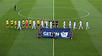 Pictured: The playrs and officials greet each other before kick off Monday 25 April 2016<br />Re: Play Off semi final, Swansea City AFC U21 v Aston Villa FC U21 at the Liberty Stadium, Swansea, UK
