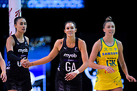 NZ shooters Maria Tutaia (left) and Ameliaranne Ekenasio during the Constellation Cup Netball Series match between the New Zealand Silver Ferns and Australia Diamonds at Horncastle Arena in Christchurch, New Zealand on Sunday, 13 October 2019. Photo: Dave Lintott / lintottphoto.co.nz