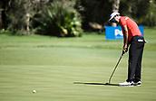 10th February 2018, Lake Karrinyup Country Club, Karrinyup, Australia; ISPS HANDA World Super 6 Perth golf, third round; Rattanon Wannasrichan (THA) putts