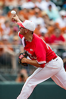 Houston Cougars pitcher Jake Lemoine (26) delivers a pitch to the plate during the NCAA baseball game against the Texas Longhorns on June 6, 2014 at UFCU Disch–Falk Field in Austin, Texas. The Longhorns defeated the Cougars 4-2 in Game 1 of the NCAA Super Regional. (Andrew Woolley/Four Seam Images)
