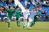 7th January 2018, Estadio Municipal de Butarque, Legales, Spain; La Liga football, Leganes versus Real Sociedad; David Zurutuza (Real Sociedad)goes past Ruben Perez (Leganes FC) during match