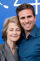Charlotte Rampling and Andrea Pallaoro during the 'Hannah' photocall at the 74th Venice International Film Festival at the Palazzo del Casino on September 08, 2017 in Venice, Italy