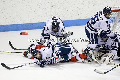Jimmy Martin (Yale - 2), Joel Malchuk (RPI - 13), Brian O'Neill (Yale - 9), Ryan Donald (Yale - 25), Nick Maricic (Yale - 31) - The Rensselaer Polytechnic Institute (RPI) Engineers defeated the Yale University Bulldogs 4-0 on Saturday, January 30, 2010, at Ingalls Rink in New Haven, Connecticut.