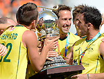 The Hague, Netherlands, June 15: Jeremy Hayward #32 of Australia kisses the World Cup Trophy after beating the team of The Netherlands 6-1 (2-1) in the gold match on June 15, 2014 during the World Cup 2014 at Kyocera Stadium in The Hague, Netherlands. (Photo by Dirk Markgraf / www.265-images.com) *** Local caption ***