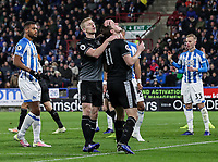Burnley's Chris Wood rues a near miss with team mate  Ben Mee <br /> <br /> Photographer Andrew Kearns/CameraSport<br /> <br /> The Premier League - Huddersfield Town v Burnley - Wednesday 2nd January 2019 - John Smith's Stadium - Huddersfield<br /> <br /> World Copyright © 2019 CameraSport. All rights reserved. 43 Linden Ave. Countesthorpe. Leicester. England. LE8 5PG - Tel: +44 (0) 116 277 4147 - admin@camerasport.com - www.camerasport.com
