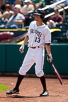 Kevin Medrano (13) of the Missouri State Bears on deck during a game against the Wichita State Shockers on April 9, 2011 at Hammons Field in Springfield, Missouri.  Photo By David Welker/Four Seam Images