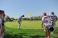 Justin Thomas (USA) chips on to 6 during round 1 foursomes of the 2017 President's Cup, Liberty National Golf Club, Jersey City, New Jersey, USA. 9/28/2017.<br /> Picture: Golffile   Ken Murray<br /> ll photo usage must carry mandatory copyright credit (&copy; Golffile   Ken Murray)