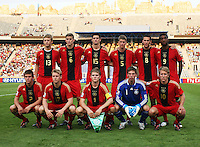 Germany's team from left to right, back row, Bjorn Kopplin (13),   Sven Bender (6), Semih Aydilek (15), Lars Bender (5), Mario Vrancic (8), Richard Sukuta-Pasu (9), front row, Sebastian Jung (2), Patrick Funk (17), Florian Jungwirth (4), Ron-Robert Zieler (1), Lewis Holtby (10)      . stands on the field before the match against Brazil during the FIFA Under 20 World Cup Quarter-final match at the Cairo International Stadium in Cairo, Egypt, on October 10, 2009. Germany lost 2-1 in overtime play. ... .. ..... .