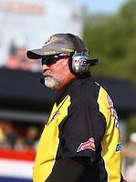 May 16, 2014; Commerce, GA, USA; NHRA official starter Mark Lyle during qualifying for the Southern Nationals at Atlanta Dragway. Mandatory Credit: Mark J. Rebilas-USA TODAY Sports