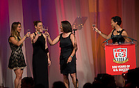 Heather Mitts, Lindsay Tarpley, Shannon Macmillan, Angela Hucles. US Soccer held their Centennial Gala at the National Building Museum in Washington DC.