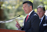 Nevada Gov. Brian Sandoval speaks at the 21st annual Nevada State Law Enforcement Officers Memorial ceremony in Carson City, Nev., on Thursday, May 3, 2018. <br />