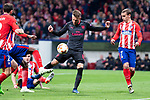Atletico de Madrid Antoine Griezmann and Arsenal FC Aaron Ramsey during Europa League Semi Finals First Leg match between Atletico de Madrid and Arsenal FC at Wanda Metropolitano in Madrid, Spain. May 03, 2018.  (ALTERPHOTOS/Borja B.Hojas)