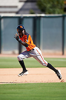 San Francisco Giants Robert Antunez (1) during an Instructional League game against the Oakland Athletics on October 5, 2016 at Fitch Park in Mesa, Arizona.  (Mike Janes/Four Seam Images)