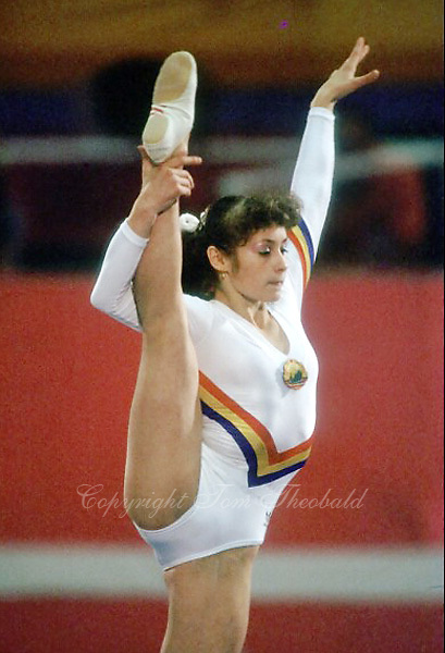 August 6, 1984; Los Angeles, California, USA;  Artistic gymnastics stars Ecaterina Szabo of Romania performs on balance beam on way to gold medal win in event finals at 1984 Los Angeles Olympics. Copyright 1984 Tom Theobald