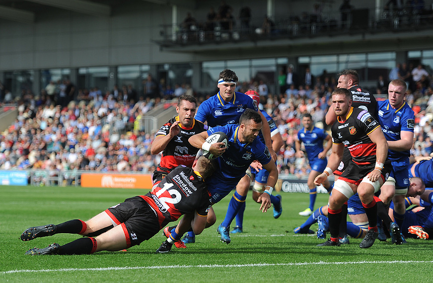 TRY - Leinster's Jamison Gibson-Park scores his sides first try<br /> <br /> Photographer Ashley Crowden/CameraSport<br /> <br /> Guinness Pro14 Round 1 - Dragons v Leinster Rugby - Saturday 2nd September 2017 - Rodney Parade - Newport, Wales<br /> <br /> World Copyright &copy; 2017 CameraSport. All rights reserved. 43 Linden Ave. Countesthorpe. Leicester. England. LE8 5PG - Tel: +44 (0) 116 277 4147 - admin@camerasport.com - www.camerasport.com