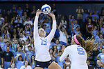 10 September 2015: North Carolina's Jordyn Schnabl (13) and Paige Neuenfeldt (5). The University of North Carolina Tar Heels hosted the Stanford University Cardinal at Carmichael Arena in Chapel Hill, NC in a 2015 NCAA Division I Women's Volleyball contest. North Carolina won the match 25-17, 27-25, 25-22.