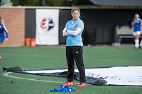 Allston, MA - Sunday, May 22, 2016: Boston Breakers assistant coach Cat Whitehill conducts warmups before a regular season National Women's Soccer League (NWSL) match at Jordan Field.