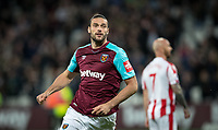 Andy Carroll of West Ham United during the Premier League match between West Ham United and Stoke City at the Olympic Park, London, England on 16 April 2018. Photo by Andy Rowland.