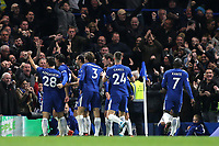 Chelsea players congratulate Alvaro Morata after scoring their opening goal during Chelsea vs Manchester United, Premier League Football at Stamford Bridge on 5th November 2017
