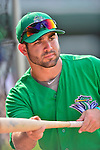 17 July 2013: Vermont Lake Monsters catcher Josh Miller takes hitting practice prior to a game against the Aberdeen Ironbirds at Centennial Field in Burlington, Vermont. The Lake Monsters fell to the Ironbirds 5-1 in NY Penn League action. Mandatory Credit: Ed Wolfstein Photo