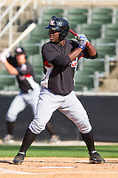 Odubel Herrera #2 of the Hickory Crawdads at bat against the Kannapolis Intimidators at Fieldcrest Cannon Stadium on April 17, 2011 in Kannapolis, North Carolina.   Photo by Brian Westerholt / Four Seam Images