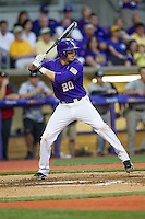 LSU Tigers first baseman Connor Hale #20 at bat during the Southeastern Conference baseball game against the Georgia Bulldogs on March 22, 2014 at Alex Box Stadium in Baton Rouge, La. The Tigers defeated the Bulldogs 2-1. (Andrew Woolley/Four Seam Images)