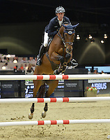 Ben Maher (Great Britain), riding Boomerang at the Gucci Gold Cup International Jumping competition at the 2015 Longines Masters Los Angeles at the L.A. Convention Centre.<br /> October 3, 2015  Los Angeles, CA<br /> Picture: Paul Smith / Featureflash