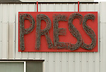 Sign for Anchorage Press newspaper.  First day in Anchorage, Alaska.  Bob Gathany photo.