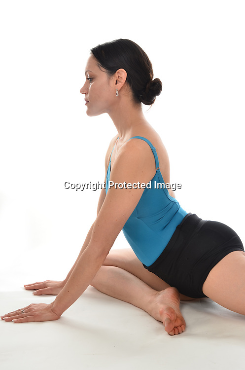 Stock photo of woman doing yoga