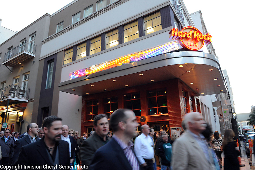 Hard Rock Cafe New Orleans celebrates its grand opening on Bourbon Street on Wednesday, Feb. 20, 2013. (Photo by Cheryl Gerber/Invision for Hard Rock International/AP Images)