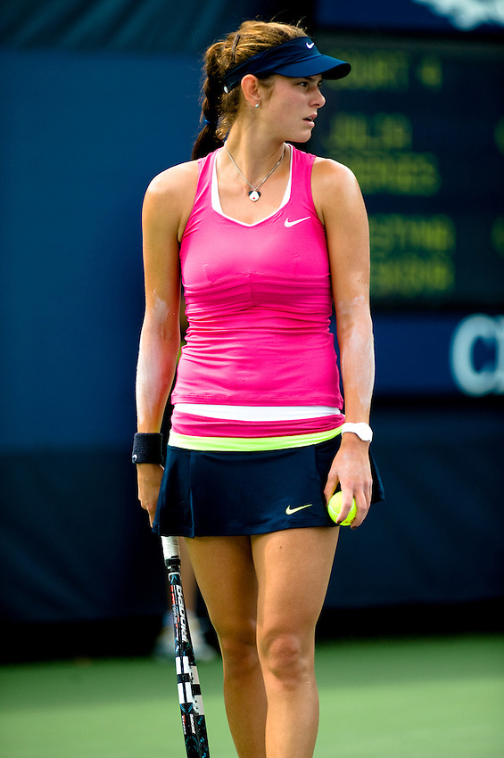 FLUSHING MEADOWS, NY - AUGUST 27: Julia Goerges competes in a first round match of the US Open on August 27, 2012 at the USTA Billie Jean King National Tennis Center in New York. The US Open is the highest-attended annual sporting event in the world.