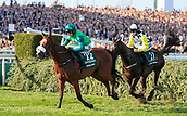 14h April 2018, Aintree Racecourse, Liverpool, England; The 2018 Grand National horse racing festival sponsored by Randox Health, day 3; Ucello Conti ridden by Daryl Jacob leads The Grand National over the water jump