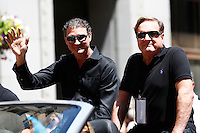 Pittsburgh Penguins owners Mario Lemieux and Ron Burkle wave to the crowd during the Stanley Cup victory parade in downtown Pittsburgh, Pennsylvania on June 15, 2016. (Photo by Jared Wickerham / DKPS)