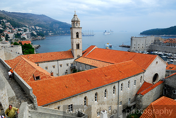 Elevated view of the Dominican Monastery, with the harbour and cruise ships in the background. Dubrovnik old town, Croatia