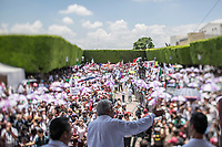 "June 24, 2018: Andres Manuel Lopez Obrador, an opposition candidate of MORENA party running for presidency, gives a speech to supporters during his campaign rally at ""Jardin Guerrero"" in Queretaro City, Mexico. National elections will be hold on July 1."