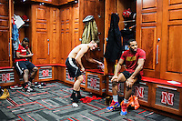 Olympic Gold champion wrestler Jordan Burroughs (cq) prepares for wrestling practice at the University of Nebraska in Lincoln, Nebraska, Friday, February 12, 2015. Burroughs still trains at the university where he wrestled as a student.<br /> <br /> Photo by Matt Nager