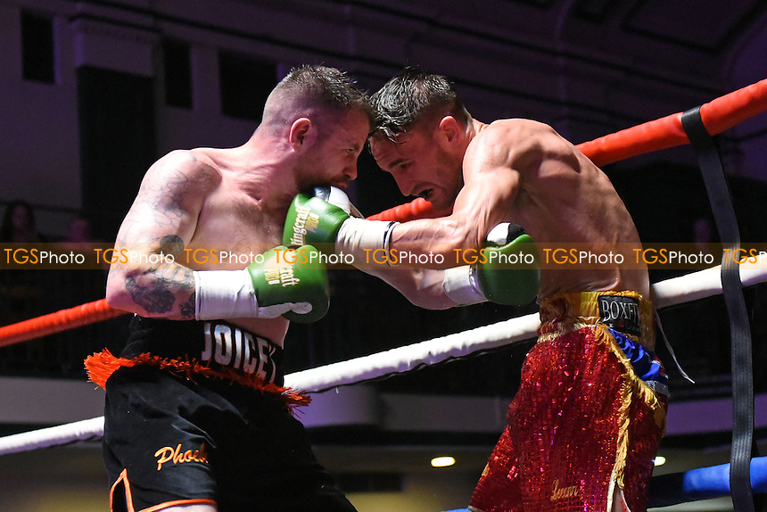Jamie Arlain (red shorts) defeats Andrew Joicey during a Boxing Show at York Hall on 24th September 2016