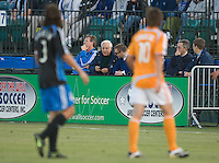 San Jose Earthquakes owner Lew Wolffe watches the match from the sidelines, .San Jose Earthquakes over the Houston Dynamo 2-1, at Buck Shaw Stadium in Santa Clara, Calif., Thursday, May 22, 2008. .