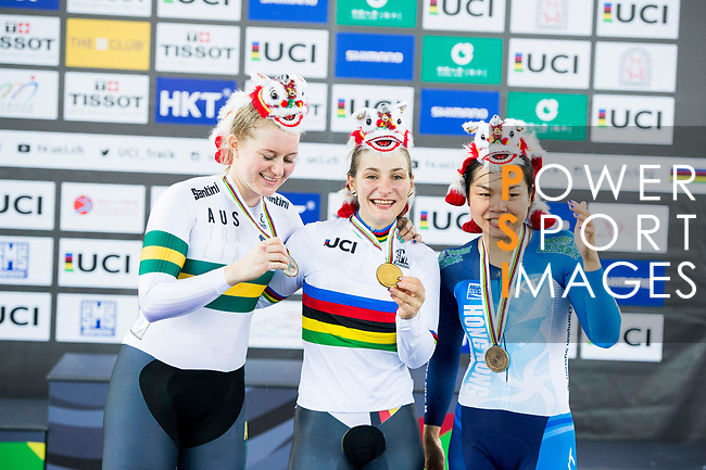 Men's Individual Pursuit's prize ceremony during the 2017 UCI Track Cycling World Championships on 14 April 2017, in Hong Kong Velodrome, Hong Kong, China. Photo by Marcio Rodrigo Machado / Power Sport Images